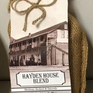 Coffee in burlap bag - Hayden House label