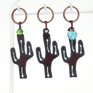 Three styles of cactus keychains